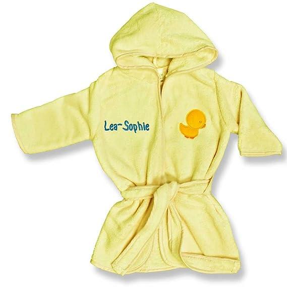 Süsser Baby Kinderbademantel Gelb mit Kapuze