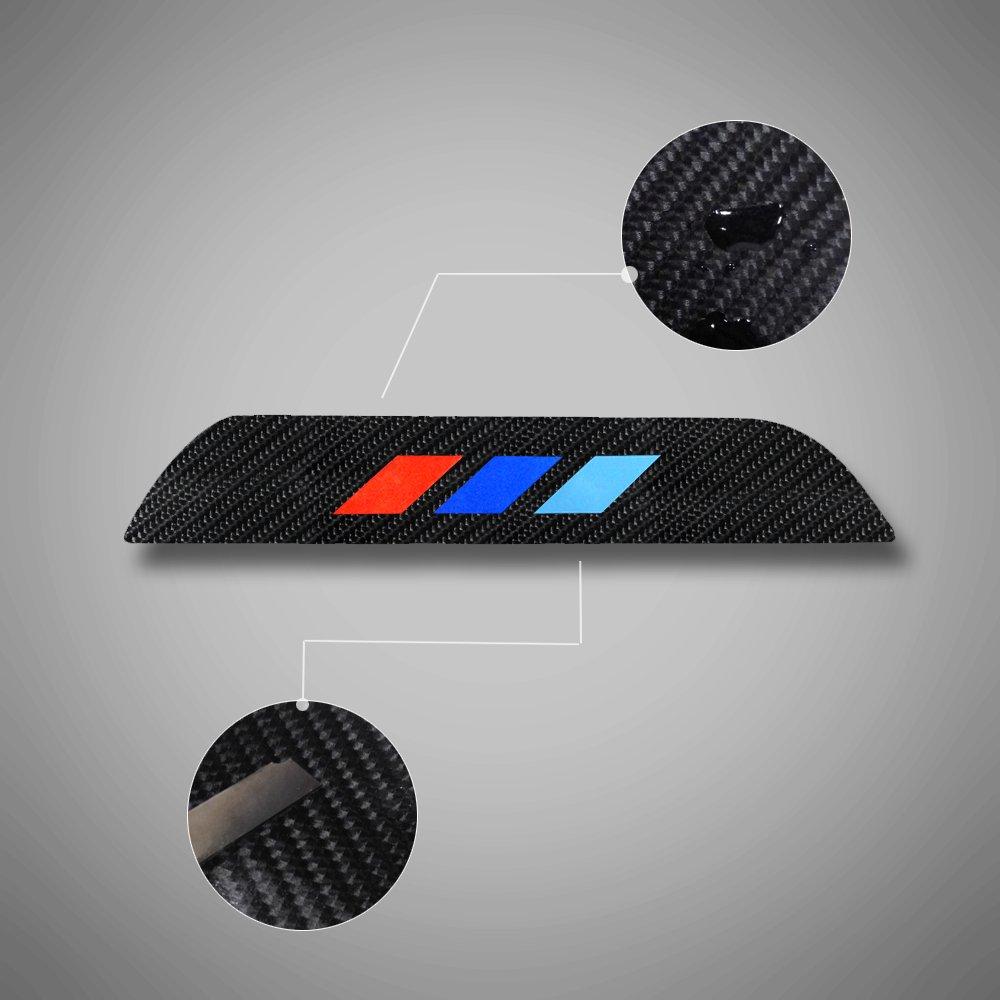 for BMW 5 Series 2014-2016 F10 F18 520i 528i 535i 550i xDrive Door Sill Protector Reflective 4D Carbon Fiber Sticker Door Entry Guard Door Sill Scuff Plate Stickers Auto Accessories 4PCS