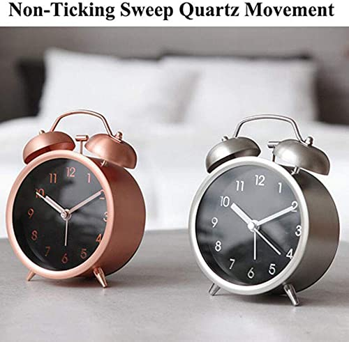 Alarm Clock for Bedroom,Not-Ticking Silent Table Alarm Clock with Matt Metal Fram,4 inch Twin Bell Small Clock Battery Operated for Kids Rose Gold