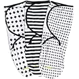 Swaddle Blanket, Adjustable Infant Baby Wrap Set by Ziggy Baby, 3 Pack Soft Cotton in Black + White