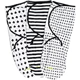 Swaddle Blanket Adjustable Infant Baby Wrap Set 3 Pack Soft Cotton Black & White
