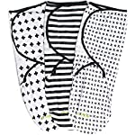 Swaddle-Blanket-Adjustable-Infant-Baby-Wrap-Set-3-Pack-Soft-Cotton-Black-White