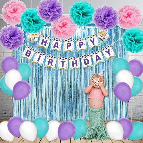 Pawliss Mermaid Party Supplies Set Decoration, Happy Birthday Banner, Balloons, Pom Poms Flowers, Foil Metallic Curtains, for Girls Under The Sea ...