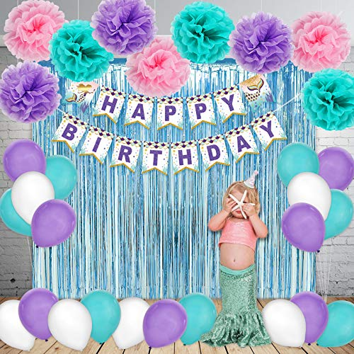 Mermaid Party Supplies Set Decoration, Happy Birthday Banner, Balloons, Pom Poms Flowers, Foil Metallic Curtains, for Girl's Under The Sea Theme Baby Shower -