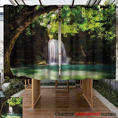 Sunnyhome Indoor/Outdoor Curtains Waterfall Tropical Paradise Falls for Patio/Front Porch W 63