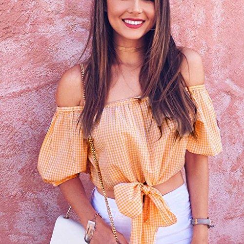 vovotrade Mujeres rejilla ombligo del hombro Casual Plaid manga corta Tops Blusa corta Naranja