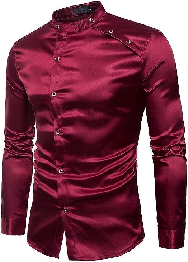 Wilngo Mens Fashion Long Sleeve Slim Fit Stand Collar Metallic Plain Buttons Nightclub Shirts