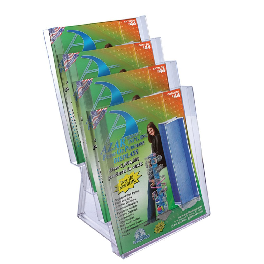 Azar 252311 Four-Tier Letter Size Brochure Holder for Counter, 2-Pack by Azar Displays