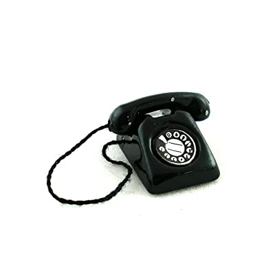 Melody Jane Dollhouse Black Retro Phone Telephone Hall Study Lounge Accessory: Toys & Games