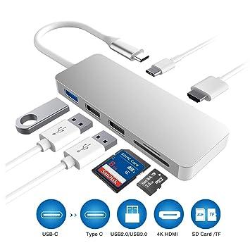 Hub USB C, 7 en 1 Type C a HDMI Concentrador Lector de Tarjeta SD ...