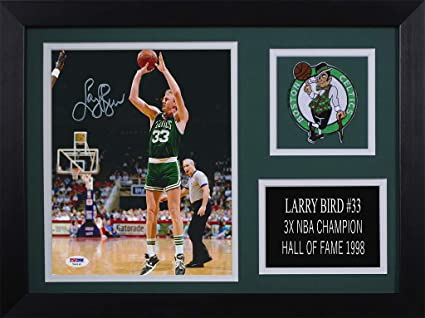 bf2078cdb336 Larry Bird Autographed Celtics Photo - Beautifully Matted and Framed - Hand  Signed By Larry Bird