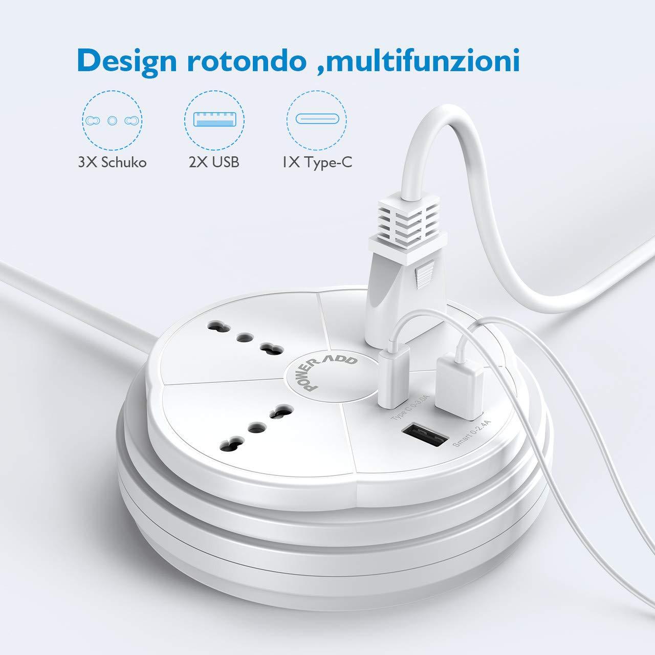 Poweradd Multipresa da scrivania/Tavolo, 3 Prese +2 USB +1 Type-C,3000W. Design rontondo risparmia spazio.