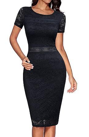 b2f52b93501d7 REPHYLLIS Women's Short Sleeve Elegant Lace Bodycon Pencil Party Work Dress  at Amazon Women's Clothing store: