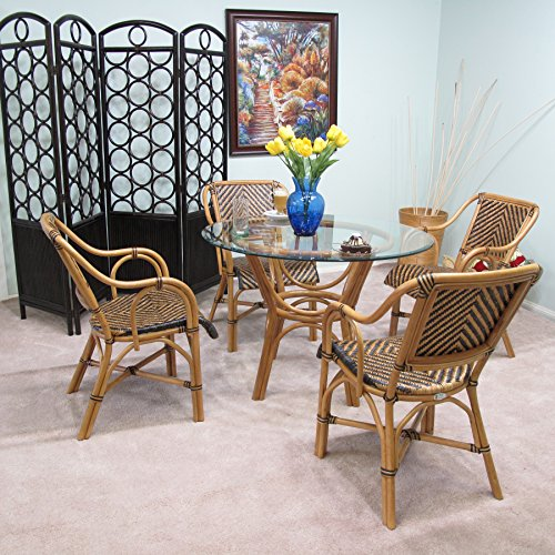 Safi Rattan Dining Furniture 5PC Set [4-Chairs and 1-Table w/ Glass] by urbandesignfurnishings.com