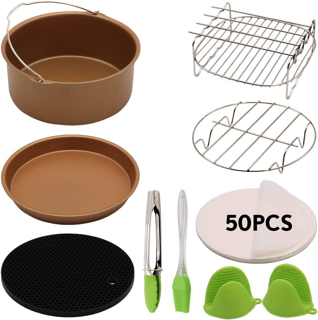 Air Fryer Accessories 59 PCS(C158-6AC) Deep Fryer Accessories Fit all 5.3Qt,5.8Qt,6Qt Air Fryer with Cake Barrel,Pizza Pan,Metal Holder,Skewer Rack,Mat,Brush,Tongs,Mitts,Liners,Champagne Gold