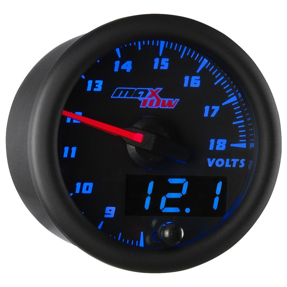 MaxTow Double Vision Volt Voltmeter Gauge - Voltage Range 8-18 Volts - Black Gauge Face - Blue LED Illuminated Dial - Analog & Digital Readouts - for Trucks - 2-1/16'' 52mm