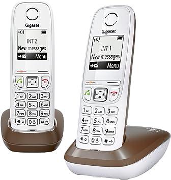 Gigaset Gigaset AS405A Duo - Pack de 2 teléfonos fijos inalámbricos (DECT/ GAP, NiMh), blanco y marrón [Versión Importada]: Amazon.es: Electrónica