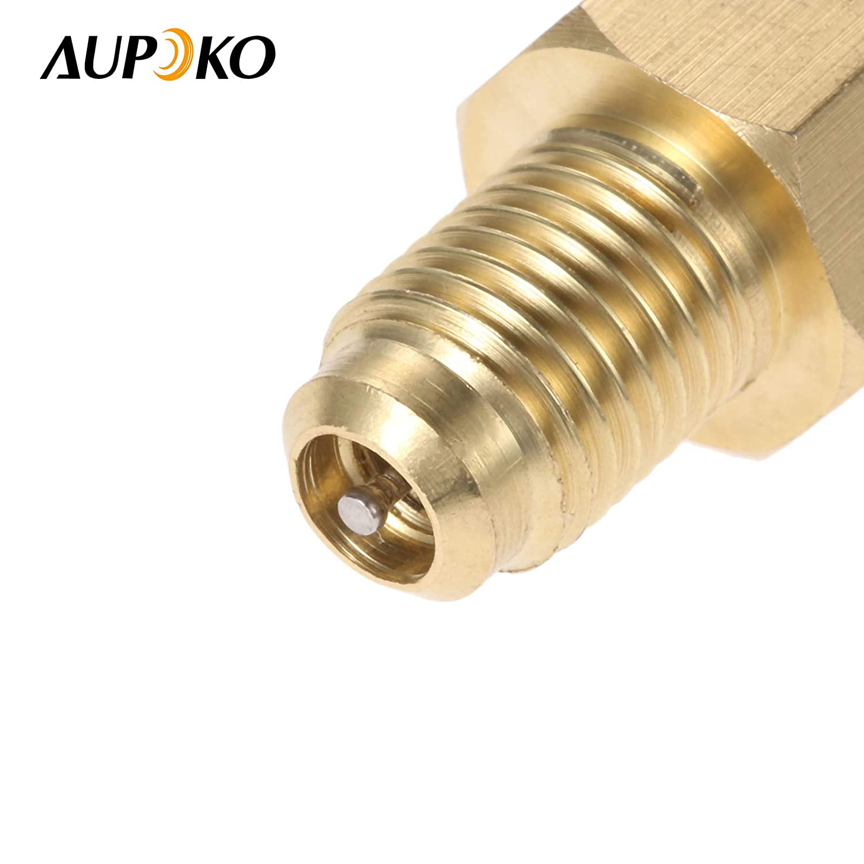 Fit for Refrigeration Conversion Aupoko 2 PC R1234YF Vacuum Hose Pump Adapter 1//2/'/' Acme LH x 1//4/'/' SAE SAE Female FL Brass Valve Core