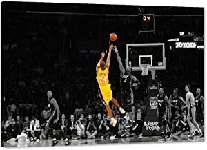 "Kobe Bryant Canvas Wall Art, LA Lakers Kobe Forever Legend Poster Picture, Kobe Framed Artwork for Home Wall Decor, Black Manba Canvas Print for Men Boys Bedroom Decor (24"" Wx36 H)"