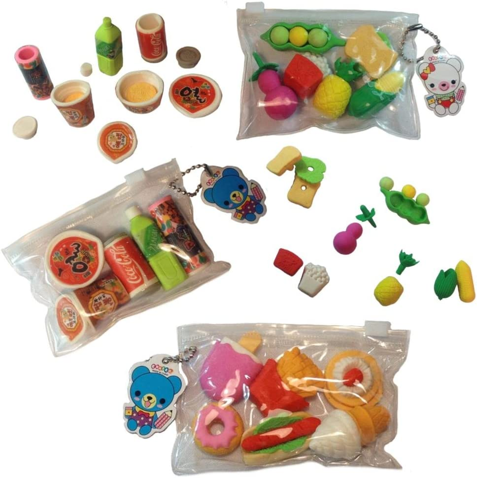 Boutique by Chinatown Hit Japanese Novelty Toy Erasers, 3X - 6-Pack (Ramen Noodle, Coca Cola, Fries, Cake, Ice-Cream)