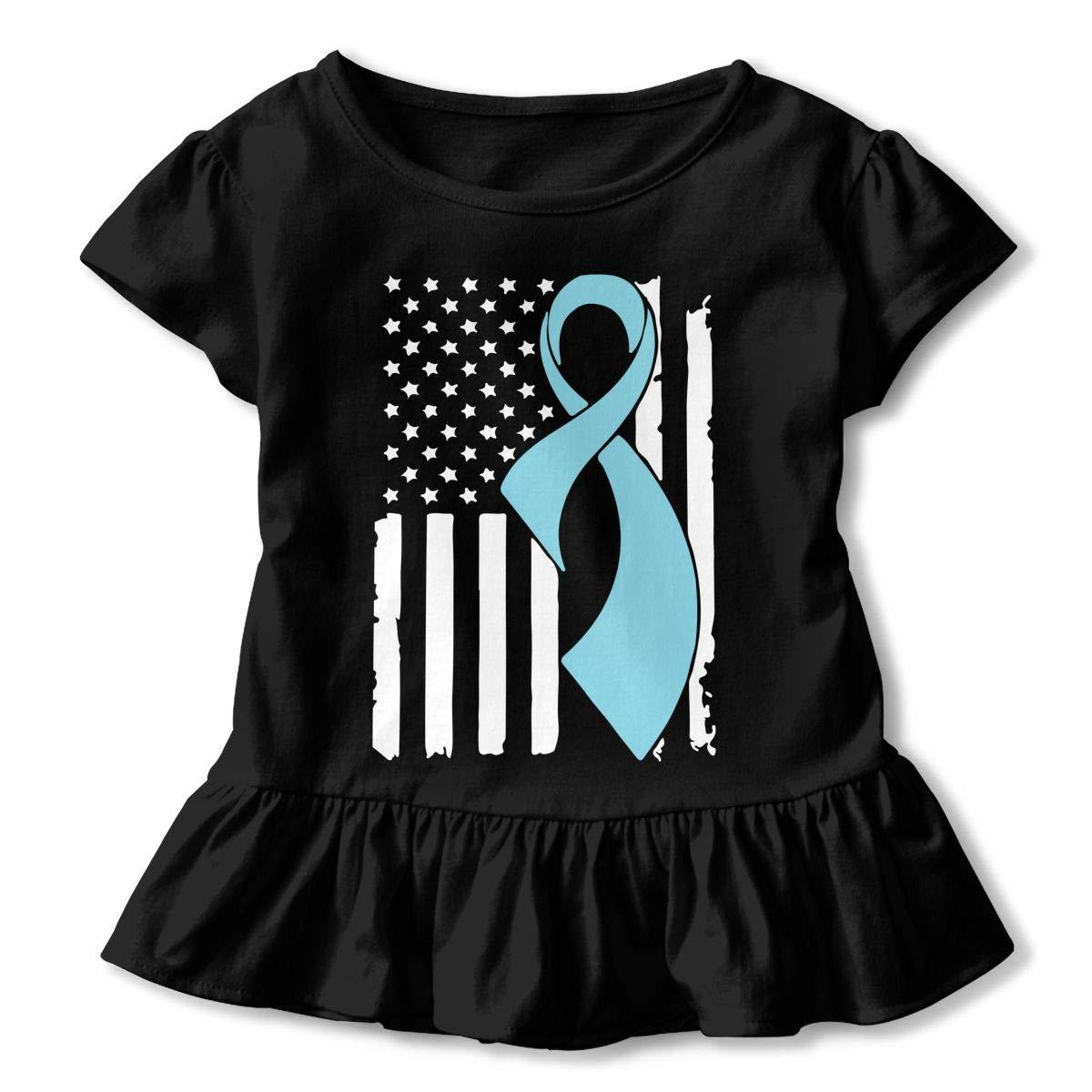 SHIRT1-KIDS Prostate Cancer Awareness Flag-1 Childrens Girls Short Sleeve T-Shirts Ruffles Shirt Tee Jersey for 2-6T