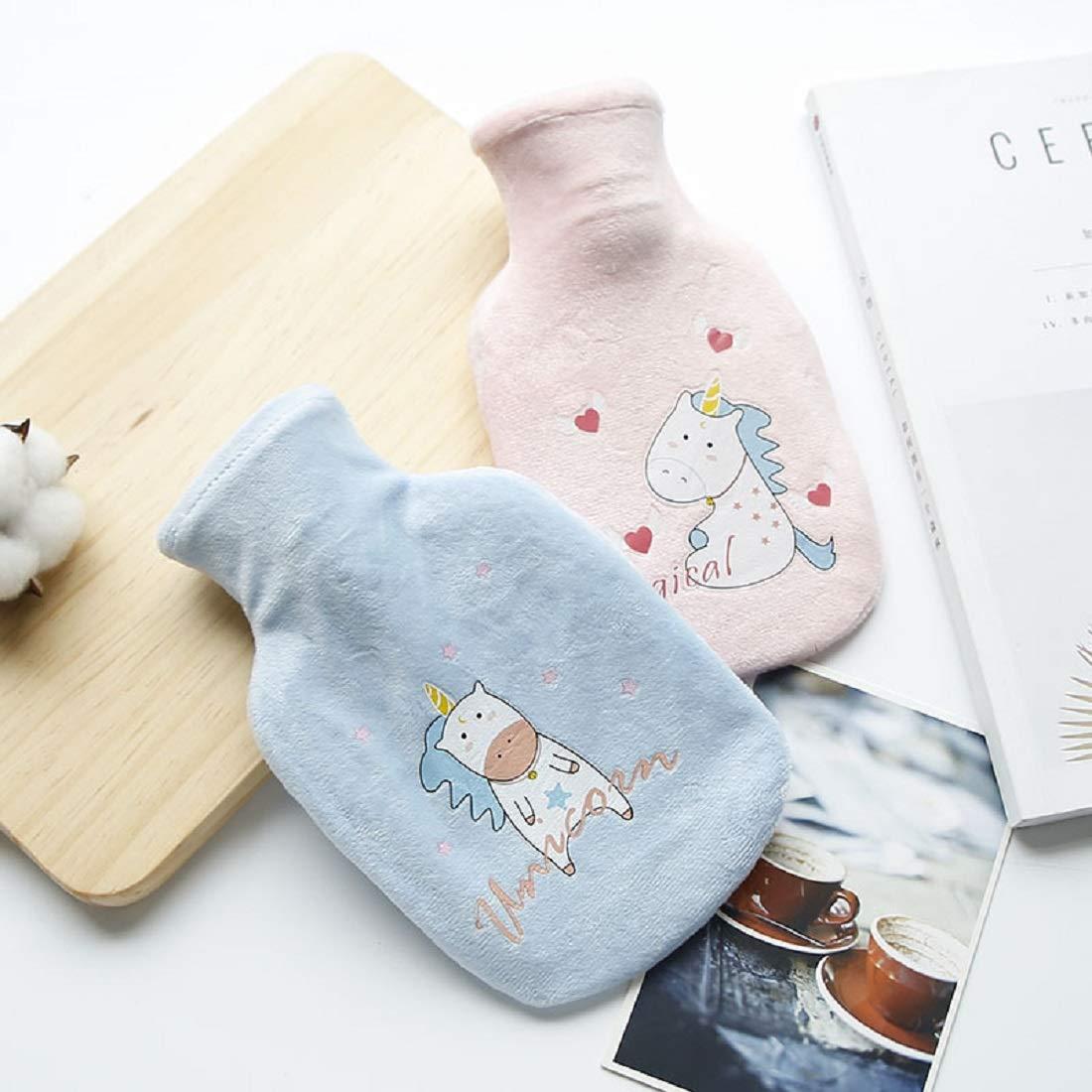 Unicorn Bouillotte avec housse de protection pour enfants Mini mignon Sac de leau chaude femmes