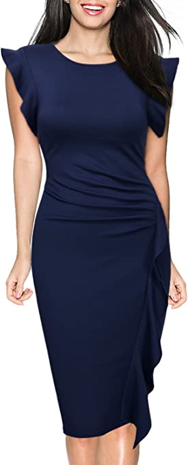 Women's Business Retro Ruffles Slim Cocktail Pencil Dress