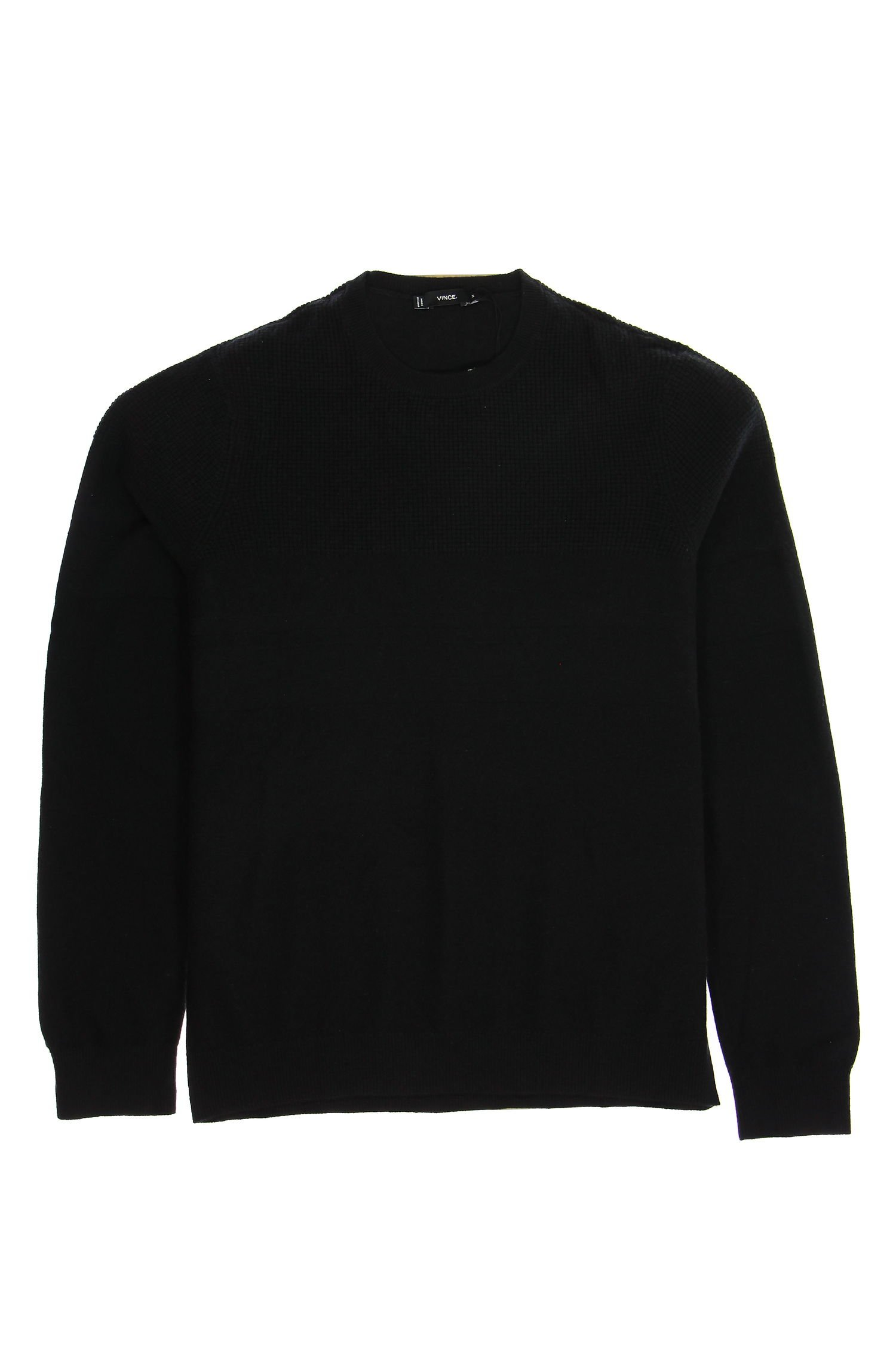Vince Men's Mixed Texture Crew Sweater, Black, Medium