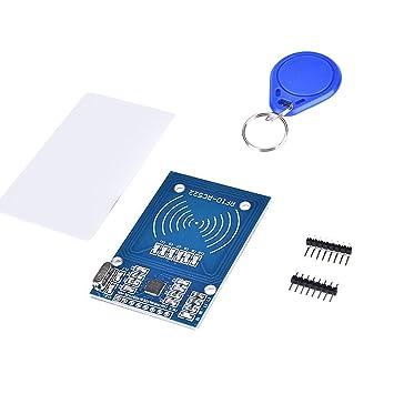 Neuftech Tarjeta de Sensor de inducción MFRC-522 RFID IC Lector Módulo con la Cadena dominante S50 Tarjeta Gratuita para arduino