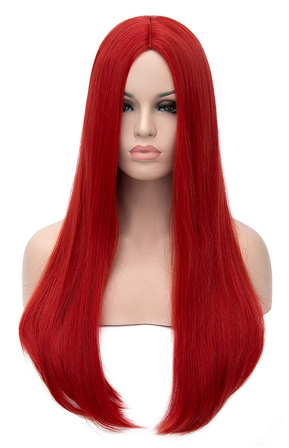 Mersi Long Red Wigs for Women Costume Cosplay Straight Hair Wig Natural Fashion Cute Synthetic Wigs for Daily Party with Wig Net S034R