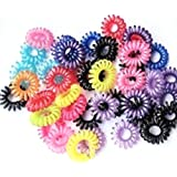 YOYOSTORE 100pc Mix Color Phone Cord Twisted Plastic Gummy for Thin Hair Girl Bobbles Elastics Ponytail Hold