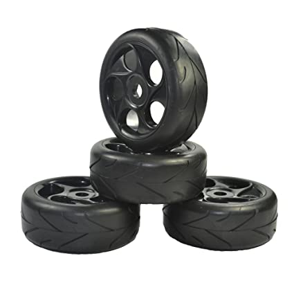 4pcs 12mm Hex 1//10 Off Road Tires//Tyre /& Wheel Rim Front/&Rear For RC Buggy Car