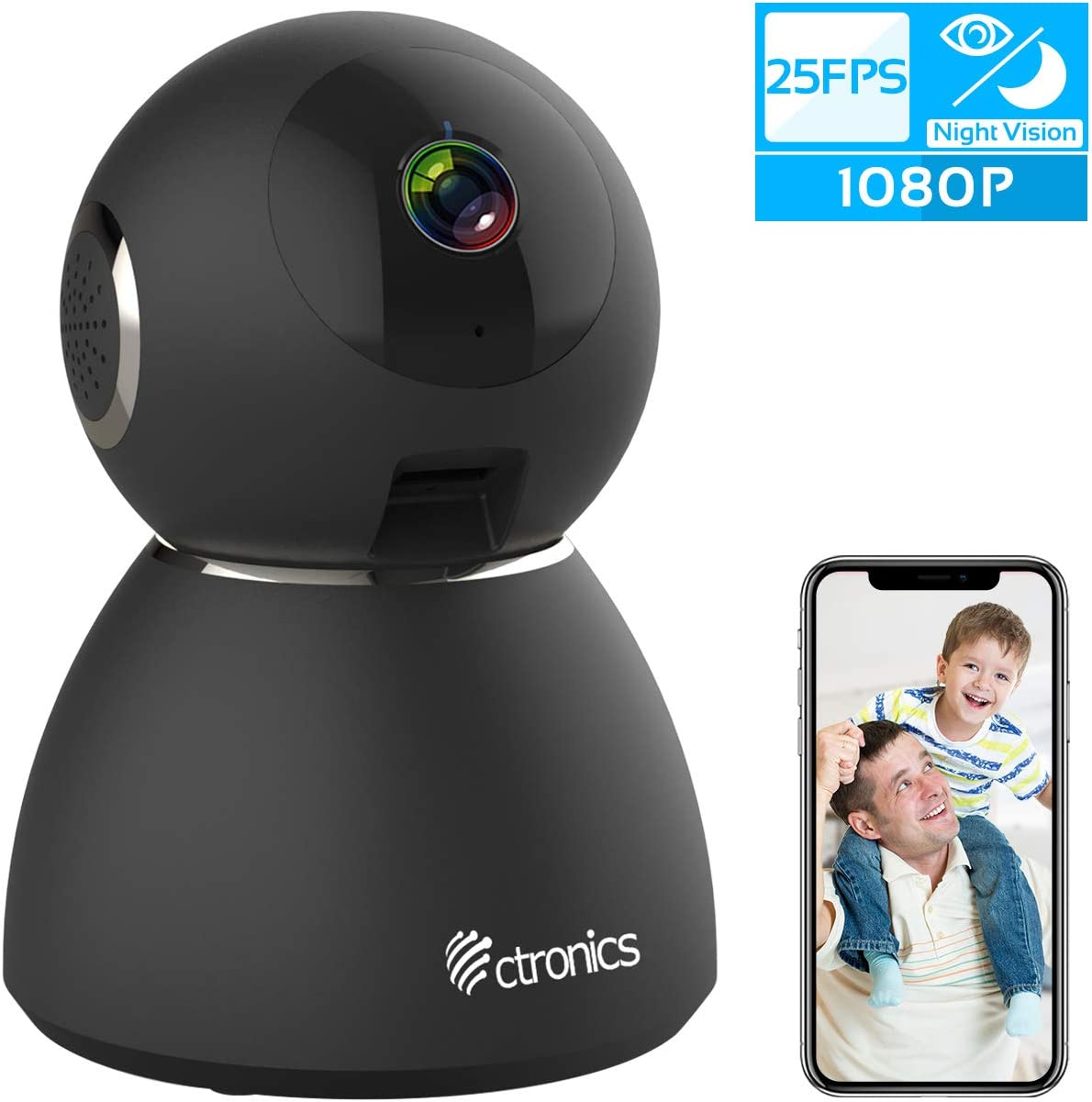 25fps 1080P WiFi Security Camera Pet Monitor, Ctronics Security Camera with Upgraded Night Vision, Motion Sound Detection, Two-Way Audio for Baby, Pet, Home Surveillance