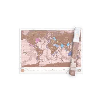 Carte Du Monde A Gratter Rose Doree Mappemonde Or Revelez Les
