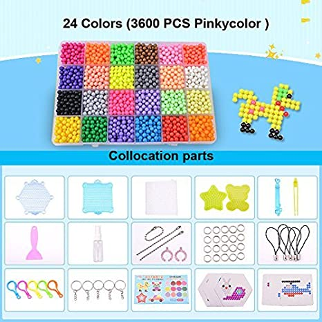 Maggift 3600 pcs Fuse Beads with DIY Pegboard and Full Set Accessories,24 Candy colors a Own Destiny