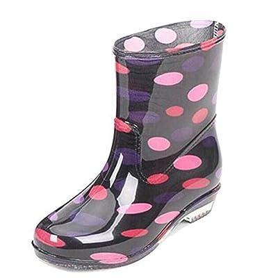Amazon.com | COVOYYAR Women's Cute Dot Short Ankle Rain Boots Rubber Shoes | Ankle & Bootie