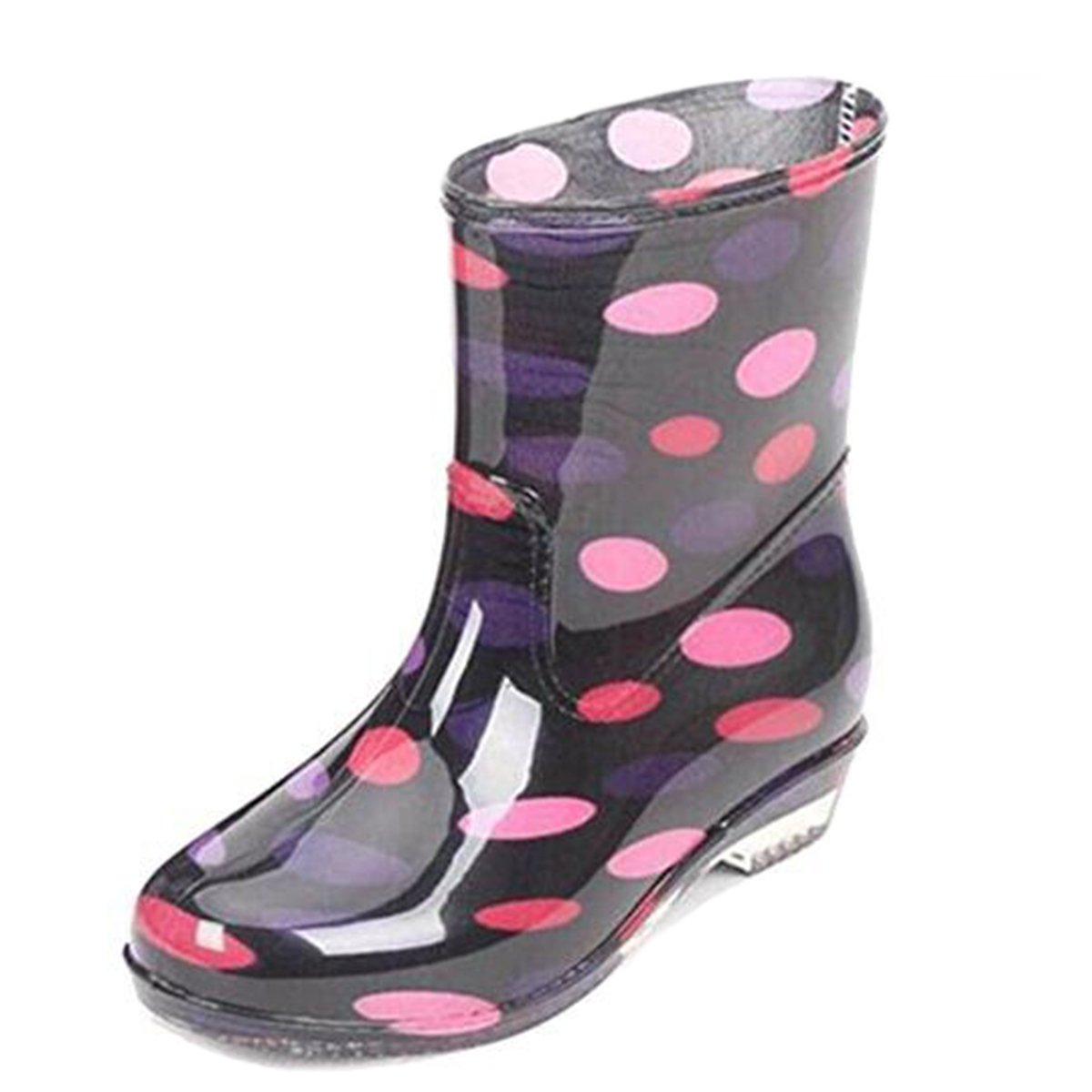 COVOYYAR Women's Cute Dot Short Ankle Rain Boots Rubber Shoes (7, Pink)
