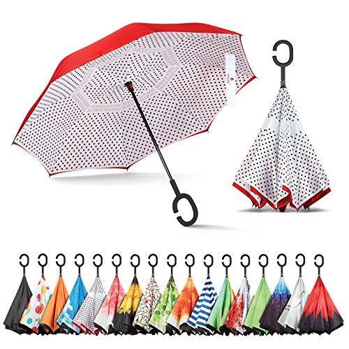 (Sharpty Inverted Umbrella, Umbrella Windproof, Reverse Umbrella, Umbrellas for Women with UV Protection, Upside Down Umbrella with C-Shaped Handle)