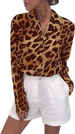 Camisa De Chifón Manga Larga Cuello Vuelto Botón Blusa Leopardo para Mujer: Amazon.es: Ropa y accesorios