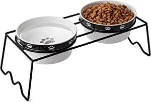 Y YHY Raised Dog Bowls, Elevated Dog Bowls 24oz, Ceramic Dog Cat Bowls for Food and Water, Pet Bowls for Dogs and Cat, Prevent Neck Pain, Anti Slip Feet, White
