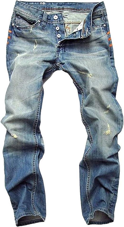 DaiHan Pantalones de Hombre Pantalones Vaqueros de Mezclilla Jeans de Moto Pantalon Vaquero