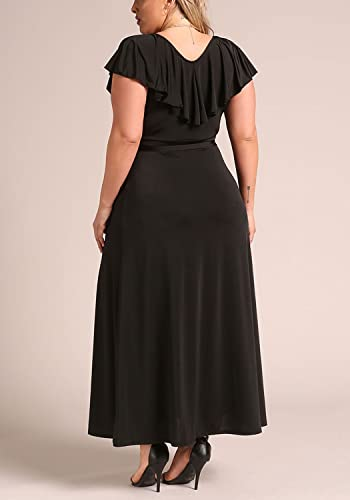 Deb Shops Debshops Womens Plus Size Lustrous Faux Wrap Ruffle Maxi Dress 1XL Black at Amazon Womens Clothing store: