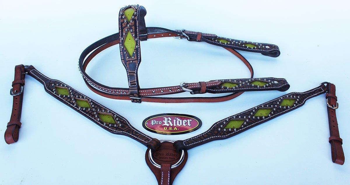 Show Tack Horse Bridle WesternレザーHeadstall Breast襟グリーンロデオ8207   B0722P54K3