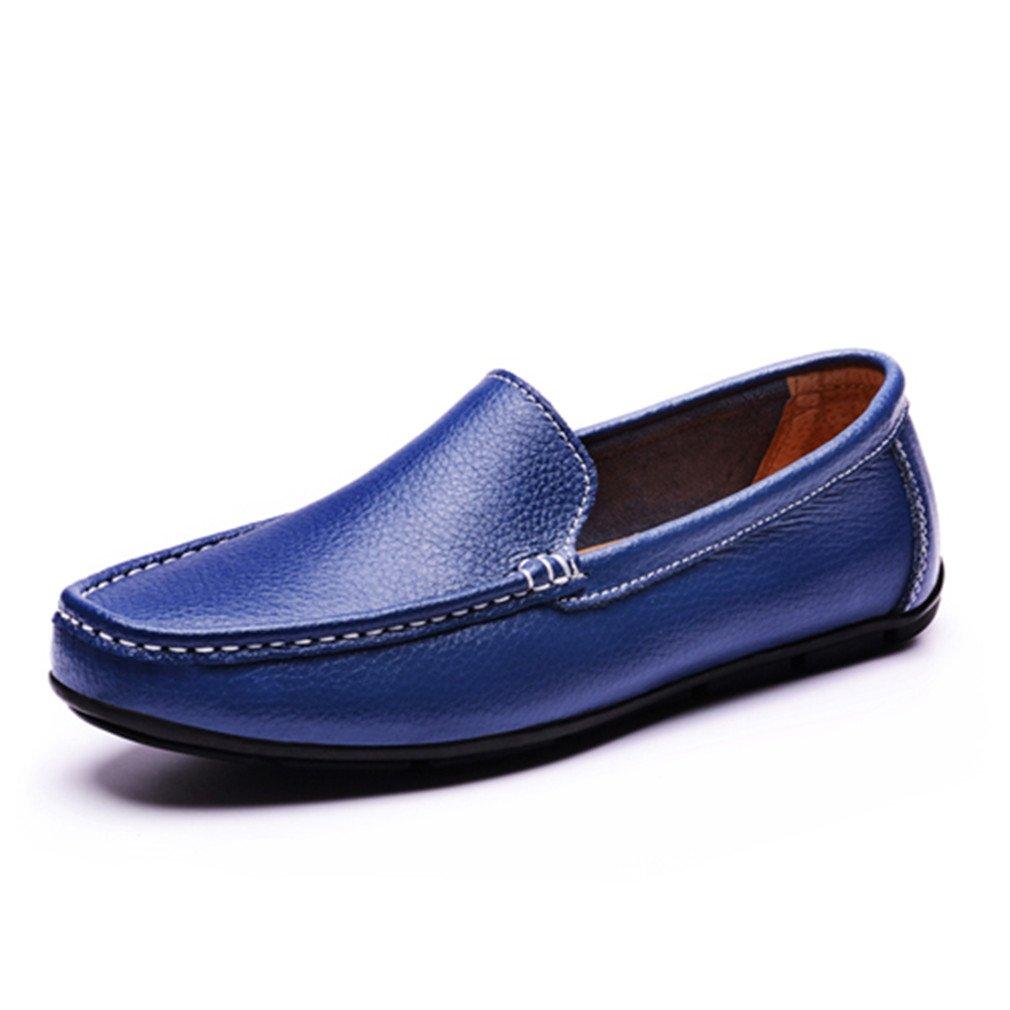 Bridfa Zapatos planos de los hombres Zapatos de cuero dividido Mocasines Zapatos de conducción de los hombres al aire libre transpirable Slip-On negro sólido 7 Blue