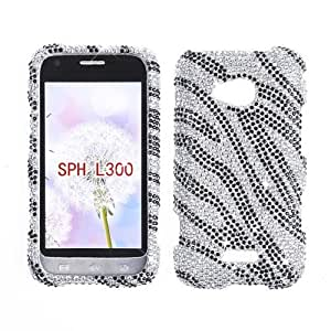 RHINESTONE CELL PHONE COVER PROTECTOR FACEPLATE HARD CASE FOR SAMSUNG GALAXY VICTORY 4G LTE L300 SILVER ZEBRA 131 by Maris's Diary