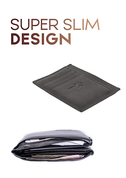 07a5595bb672 Amazon.com: RFID Front Pocket Slim Wallets for Men - Genuine Leather  Minimalist Credit Card Holder: Clothing