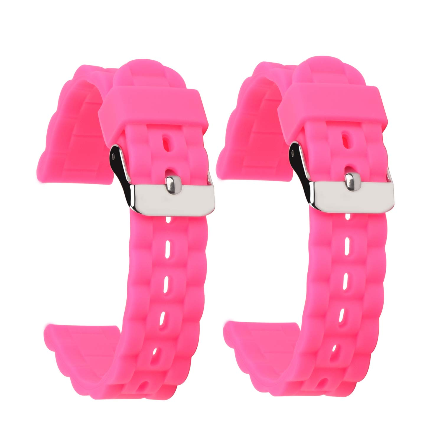 SANHEXING 2 Pack Tire Pattern Wavy Silicone Watch Bands 16mm Pink Premium Silicone Watch Straps Soft Rubber Watch Bands for Children by sanhexing