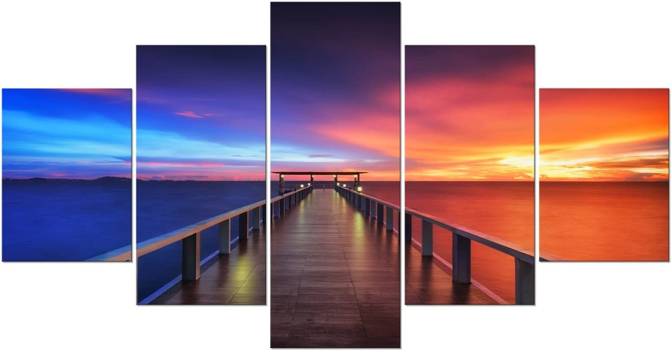 Pyradecor Sunset Bridge Large Modern 5 Piece Gallery Wrapped Seascape Artwork Giclee Canvas Prints Red and Blue Landscape Pictures Paintings on Canvas Wall Art for Home Decor L