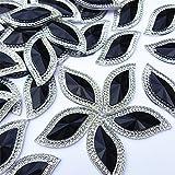 Sparkly 50pcs S Shape Shiny Black Gems Sew On Rhinestones Flatback Buttons for DIY Costume Clothing Dress Decorations 15x30mm