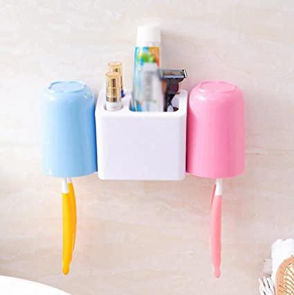 Daeou Porta Cepillo de dientes de doble pared par cepillo de dientes cepillo de aspiración pad